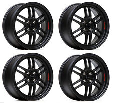 "ULTRALITE F1 17"" x 7.5J ET42 4x100 MATT BLACK ALLOY WHEELS RPF1 STYLE JR7 Y3173"