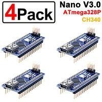 4Pcs Multipack Latest Arduino Nano v3.0 CH340G 5V 16M Compatible ATmega328P AUS