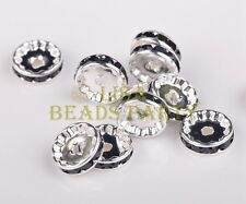 20pcs 12mm Rondelle Silver Plated Crystal Rhinestone Jewelry Findings Black