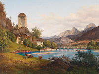 Beautiful Oil painting Classical landscape village by lake with cows on canvas
