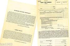 vintage 1930's STUDEBAKER New Car Order / Invoice Sheet: ORIGINAL! Blank