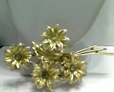 Vintage Big Goldtone AB Centers Layered Flower Boquet Brooch