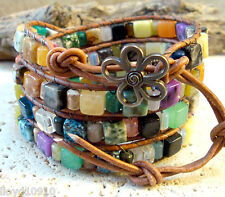 Mixed Gemstone 6x6mm Cubes & 4x6mm Tubes Handmade Beaded Leather Wrap Bracelet