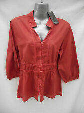 BNWT Ladies Sz 12 Katies Brand Burnt Orange Long Sleeve Boho Shirt RRP $39.95