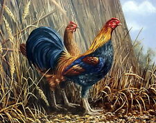 8x10  Vintage Print Kitchen Decor OLD ENGLISH Cock Rooster Farm Yard Hen Chicken