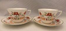 Royal Worcester fine bone China-Orange Chamberlain, 2 Tea Cups & Saucers - 1967
