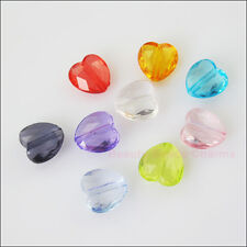 60Pcs Mixed Acrylic Plastic Facted Clear Hearts Spacer Beads Charms 11.5mm