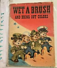 1940s WWII Military Cover Wet a Brush Paint Book Akron OH Saalfield w Surfer