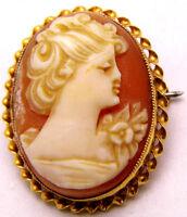 10K Yellow Gold Cameo Pendant / Pin Wear Any Way! Beautiful Oval Daily Wear Wow