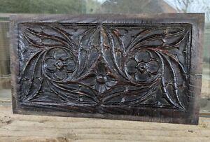 Rare Medieval English 15th Century Gothic Quatrefoil Carved Oak Panel c1480