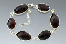 Faceted Ruby Cherry Cabochons Genuine BALTIC AMBER Silver Bracelet 36g 180621-1