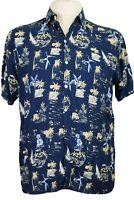 Paradise Gold Men's Medium Blue Rayon Hawaiian Shirt Gold cars, trucks boats