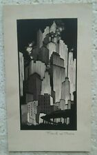 C.1930'S WOODCUT-LINOCUT...NEW YORK CITY SKYSCRAPERS,SUBWAY by FRANKS W. PEERS