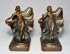 """""""Loie"""" Antique Gray Metal Bookends 1927 by X-1/Marked 500/Top Condition"""
