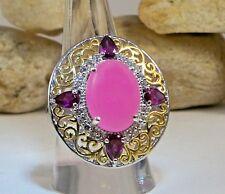Burmese Pink JADE Garnet & White Topaz Ring 925 Sterling Silver Size 9 TCW 10.90