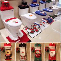US Happy Snowman Toilet Seat Cover Rug Bathroom Set Christmas Home Decoration