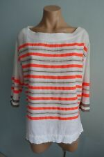 Lemlem by Liya Kebede Ethical Fashion Striped White Neon Orange Taupe Top sz S