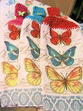 BUTTERFLIES~colorful 2 CROCHET TOP kitchen bath hand towels BUTTERFLY BUTTONS