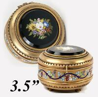 Antique Italian Micromosaic Powder Box, Enamel, Grand Tour c. 1840-60s Plaque