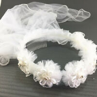2 Layers Girls First Communion Veils Wreath Wedding Princess Flower Headband hig