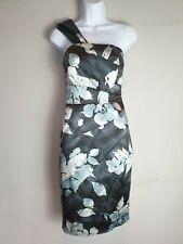 COAST Asymmetric Dress Size 8 Blue Grey One Shoulder Pencil Party Wedding Cruise