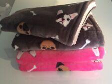 Dog/ puppy  blanket soft fleece grey pugs/frenchies