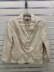 ANN TAYLOR Women's Sz.8 Beige Textured Cotton, Acetate / Rayon Lined Suit Jacket