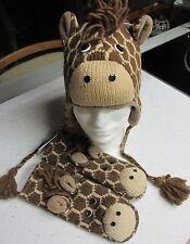 deLux ~ Giraffe HAT & MITTENS SET knit ADULT costume FLEECE LINED Farmer animal
