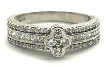 Sterling Silver CZ Cross - Triple Pave Elegant Petite Cocktail Band Ring Sz 6.75