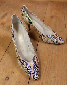 RENATA Italian Fish Scale Snakeskin Pointed Heels Court Shoes Size EU 39.5 6.5