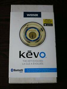 Weiser Kwikset Kevo 1st Gen Bluetooth Deadbolt Smart Door Lock Polished Brass