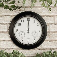 Large Metal 18 In Indoor Outdoor Wall Clock Hygrometer Temperature Gauge