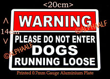 WARNING DOGS RUNNING LOOSE  PLEASE DO NOT ENTER Ali Sign Red/Black Gate Security