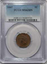 """1867 INDIAN HEAD CENT MS63BN PCGS """"LOOKS CLOSER TO RB"""" - NICE!"""