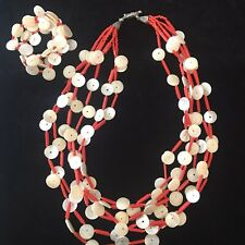 And bracelet, Tribal Necklace, Orange New listing Coral Shell Glass Statement Necklace
