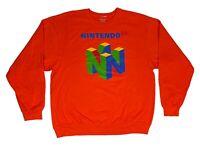 Men's Nintendo N64 Distressed Logo Pullover Sweatshirt Original Retro Video Game