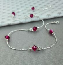 ANKLET Sterling Silver 925 Ruby Crystal  Ankle Bracelet dainty