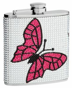 6oz Butterfly Hip Flask Made from Genuine Rhinestones
