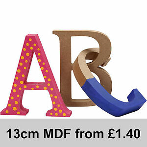 MDF Wood Wooden Letters Numbers Symbols Free Standing 13cm high 2cm deep