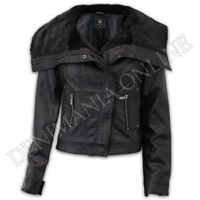 Button Leather Biker Jackets for Women