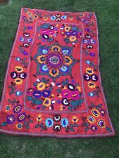 Vintage Antique Suzani Uzbek Hand Embroidery Floral Wall Hanging Panel Flowers