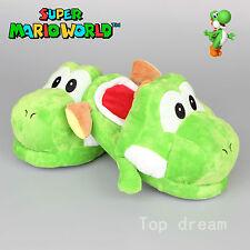 """New Super Mario Vert Yoshi Peluche Souple Adultes CHAUSSURES pantoufle 11"""" Grand Cadeau"""