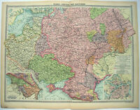 Original 1926 Map of Central & Southern Russia by George Philip & Son. Vintage