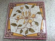 "Antique Ceramic Tile, 6""x6"" Honeysuckle Flower Pattern."
