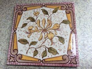 "Antique Ceramic Tile, 6""x6"" Honeysuckle Flower Pattern."