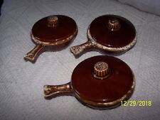3 Vintage Hull  ** Brown Drip ** Stick Handle  **Individual Casseroles & Lids