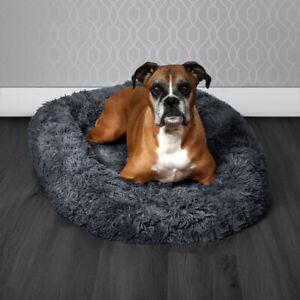 Pawamore Charcoal Grey Soft Pet Calming Donut Cushion Warm Nest Dog Bed -80cm XL