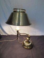 Vtg Brass Marble Table Desk Candle Stick Adjustable Student Banker Lamp Light