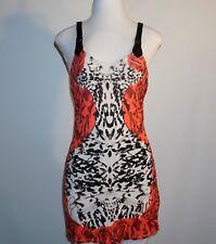 FOX Red & Black Floral & Animal Jersey Print PVC Straps Dress Small S