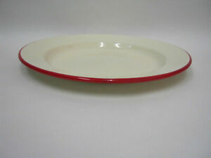VICTOR DINNER PLATE 26CM CREAM WITH RED TRIM DAMAGED CHIPPED